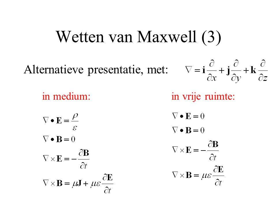 Wetten van Maxwell (3) Alternatieve presentatie, met: in vrije ruimte:in medium: