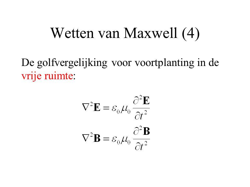 Wetten van Maxwell (4) De golfvergelijking voor voortplanting in de vrije ruimte: