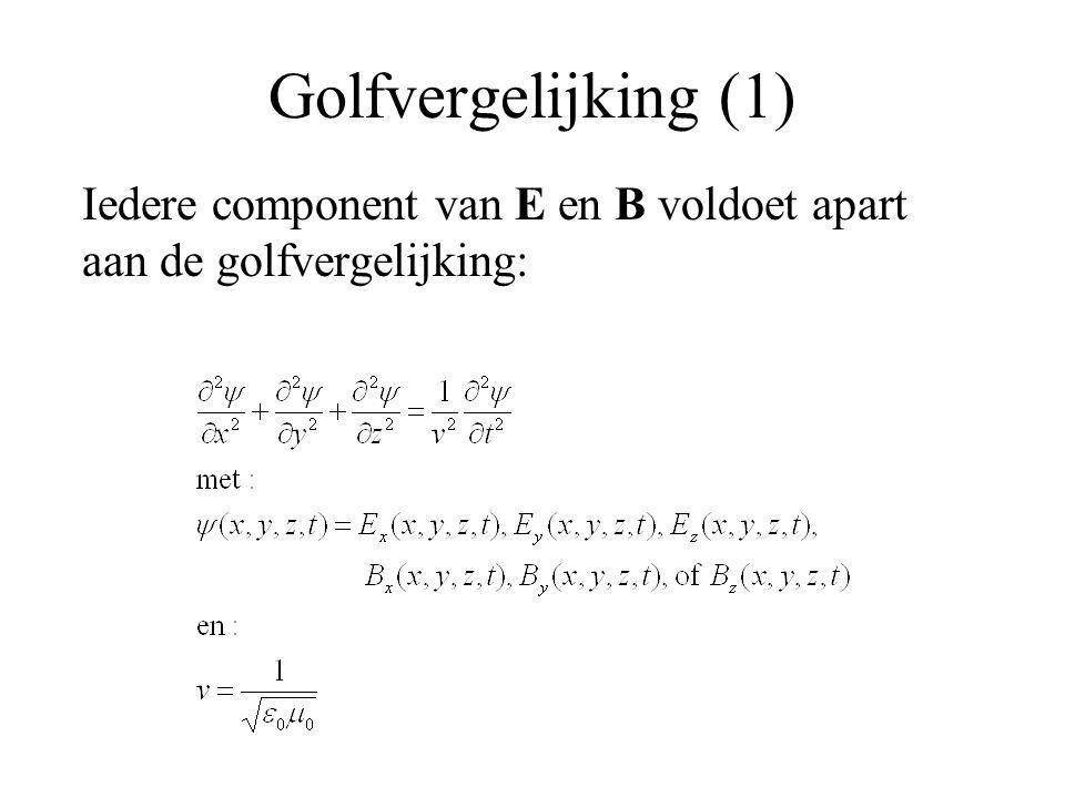 Golfvergelijking (1) Iedere component van E en B voldoet apart aan de golfvergelijking: