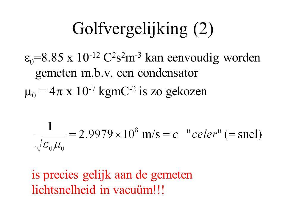 Golfvergelijking (2)   =8.85 x 10 -12 C 2 s 2 m -3  kan eenvoudig worden gemeten m.b.v.