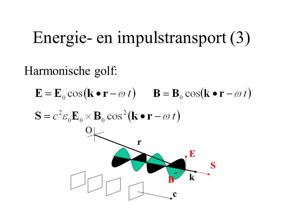 Energie- en impulstransport (3) Harmonische golf: E B c S k r O