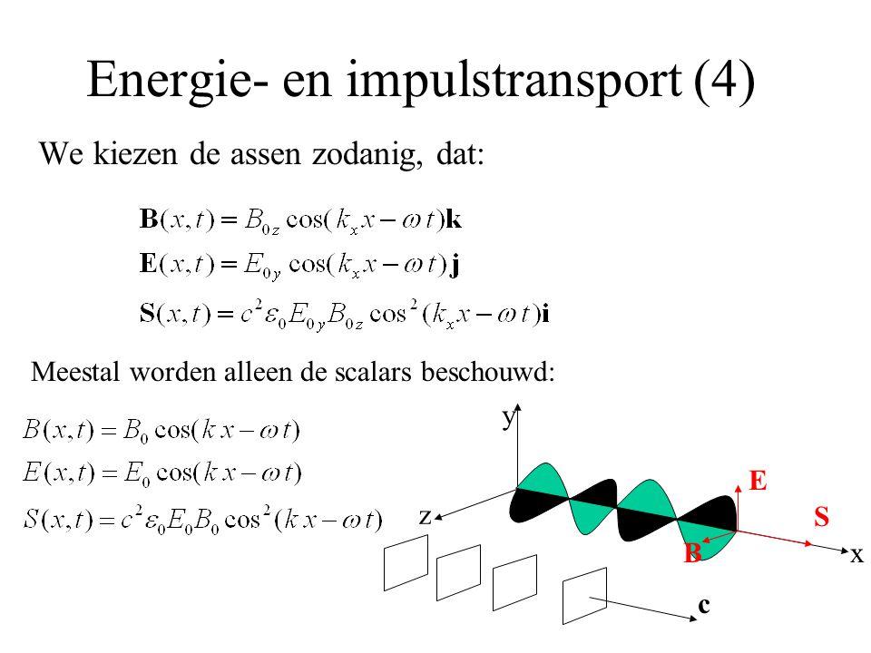 Energie- en impulstransport (4) We kiezen de assen zodanig, dat: y z x E B c S Meestal worden alleen de scalars beschouwd: