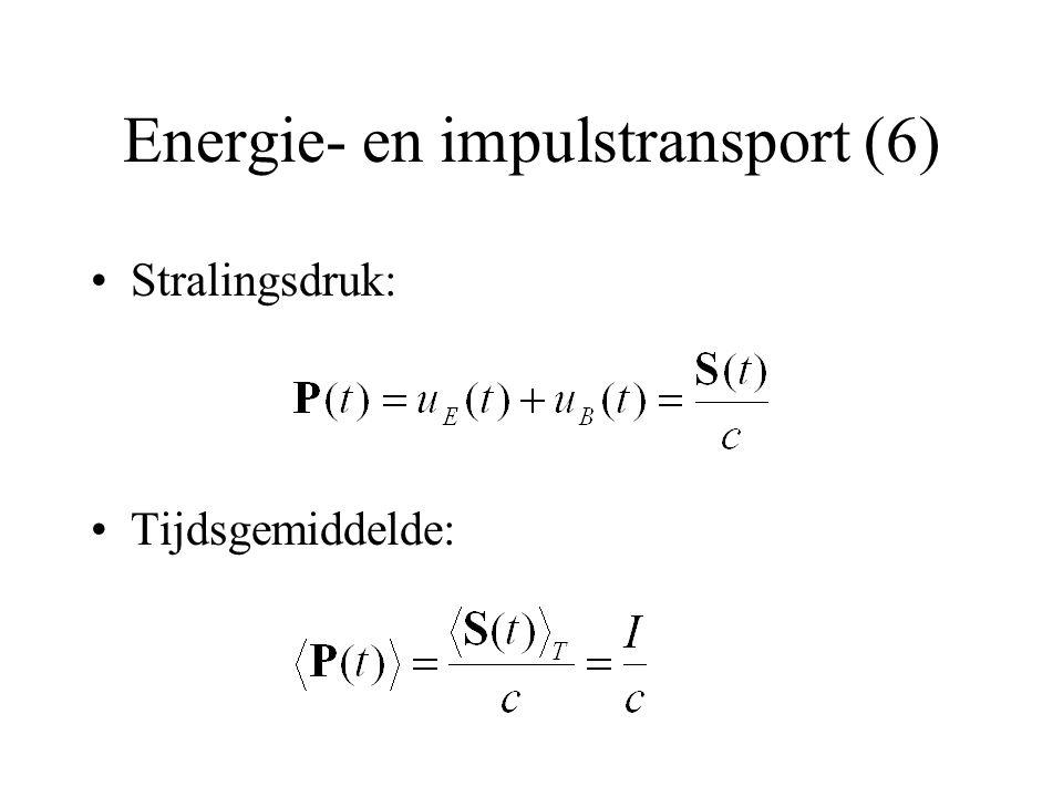 Energie- en impulstransport (6) Stralingsdruk: Tijdsgemiddelde: