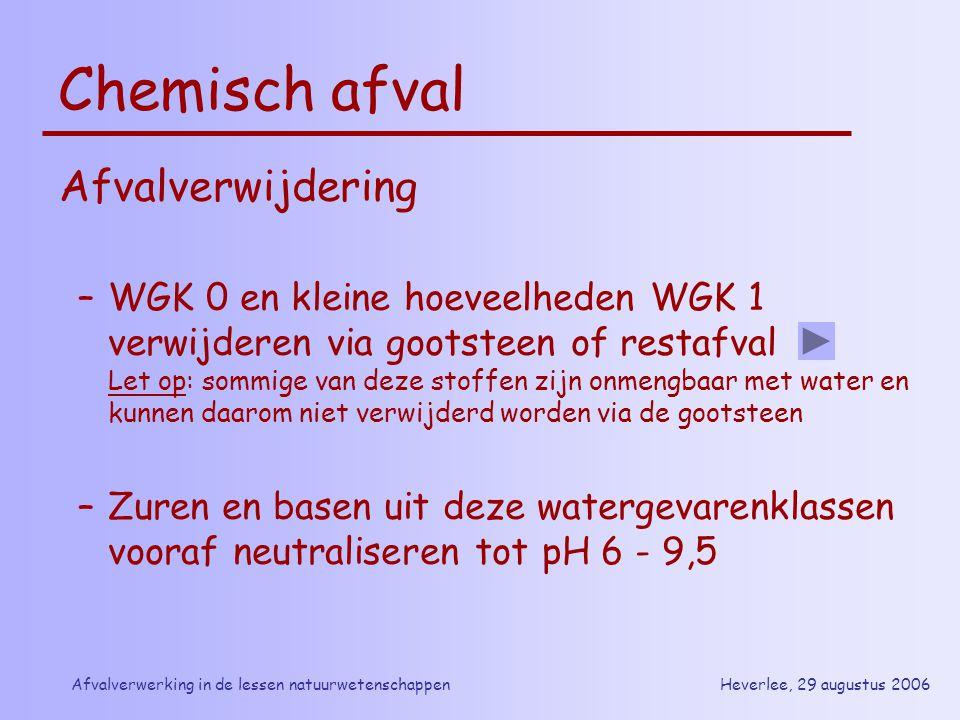 Heverlee, 29 augustus 2006Afvalverwerking in de lessen natuurwetenschappen Chemisch afval Afvalverwijdering –WGK 0 en kleine hoeveelheden WGK 1 verwij