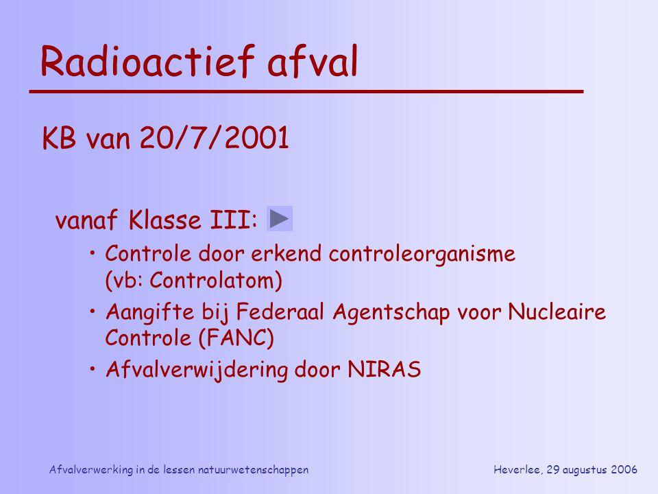 Heverlee, 29 augustus 2006Afvalverwerking in de lessen natuurwetenschappen Radioactief afval KB van 20/7/2001 vanaf Klasse III: Controle door erkend c