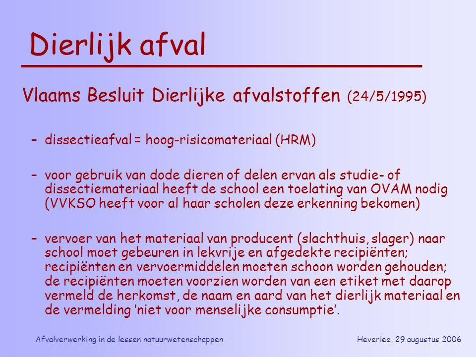 Heverlee, 29 augustus 2006Afvalverwerking in de lessen natuurwetenschappen Dierlijk afval Vlaams Besluit Dierlijke afvalstoffen (24/5/1995) –dissectie