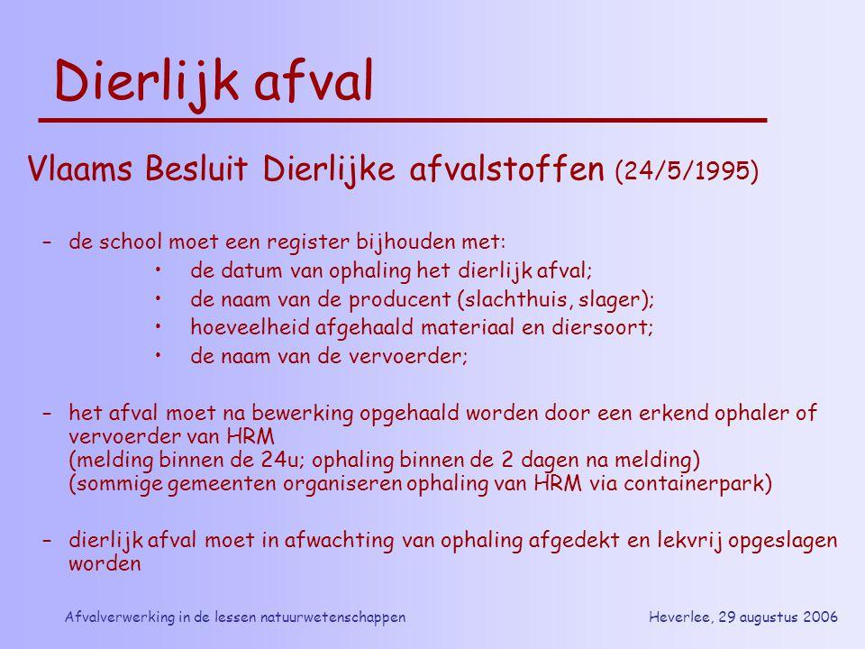 Heverlee, 29 augustus 2006Afvalverwerking in de lessen natuurwetenschappen Dierlijk afval Vlaams Besluit Dierlijke afvalstoffen (24/5/1995) –de school