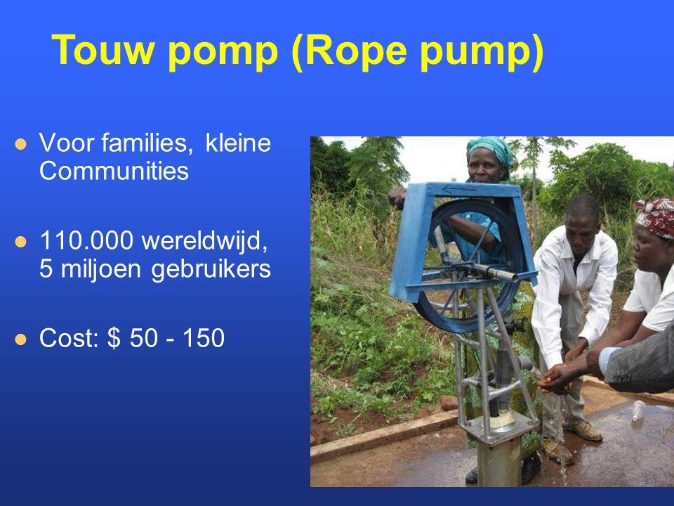 Voor families, kleine Communities 110.000 wereldwijd, 5 miljoen gebruikers Cost: $ 50 - 150 Touw pomp (Rope pump)