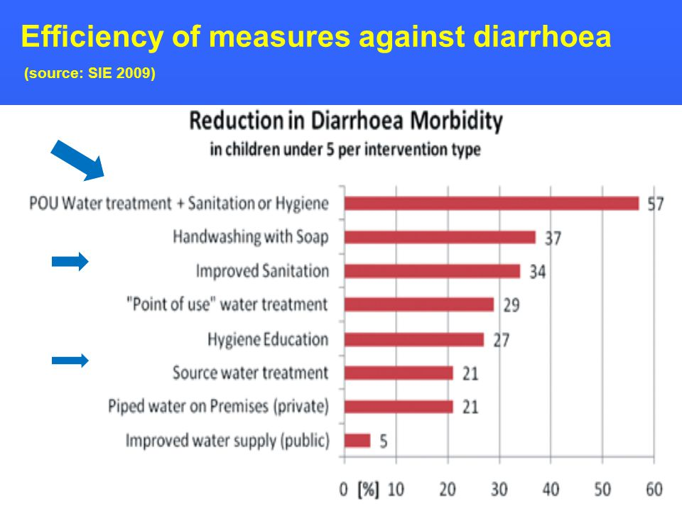 29 Efficiency of measures against diarrhoea (source: SIE 2009)