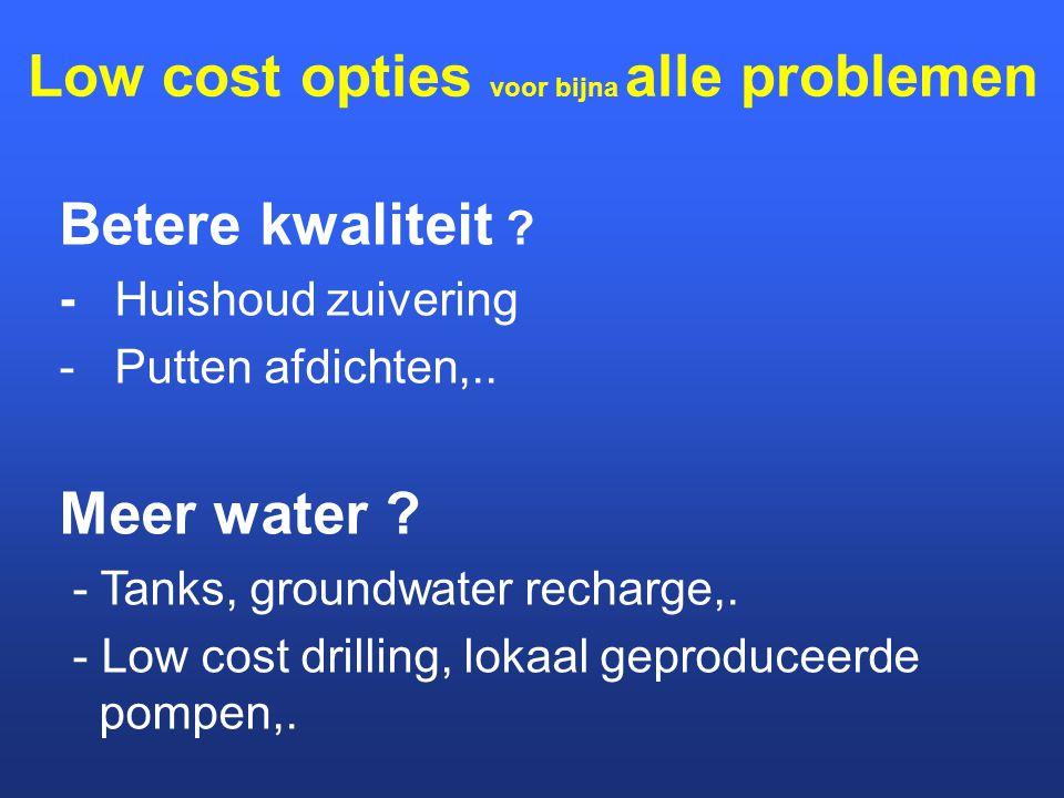 Low cost opties voor bijna alle problemen Betere kwaliteit ? - Huishoud zuivering - Putten afdichten,.. Meer water ? - Tanks, groundwater recharge,. -