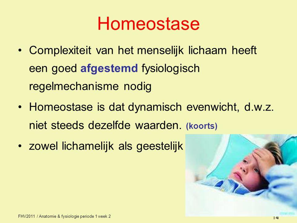 FHV2011 / Anatomie & fysiologie periode 1 week 2 14 Homeostase Complexiteit van het menselijk lichaam heeft een goed afgestemd fysiologisch regelmechanisme nodig Homeostase is dat dynamisch evenwicht, d.w.z.