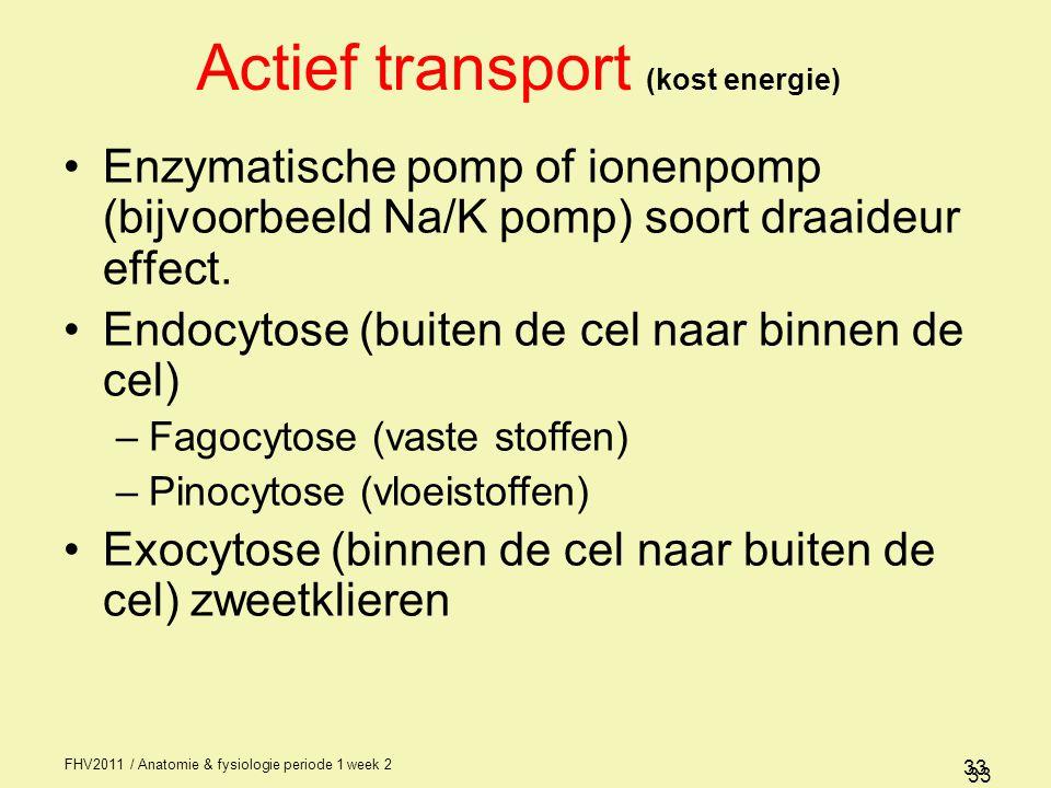 FHV2011 / Anatomie & fysiologie periode 1 week 2 33 Actief transport (kost energie) Enzymatische pomp of ionenpomp (bijvoorbeeld Na/K pomp) soort draaideur effect.