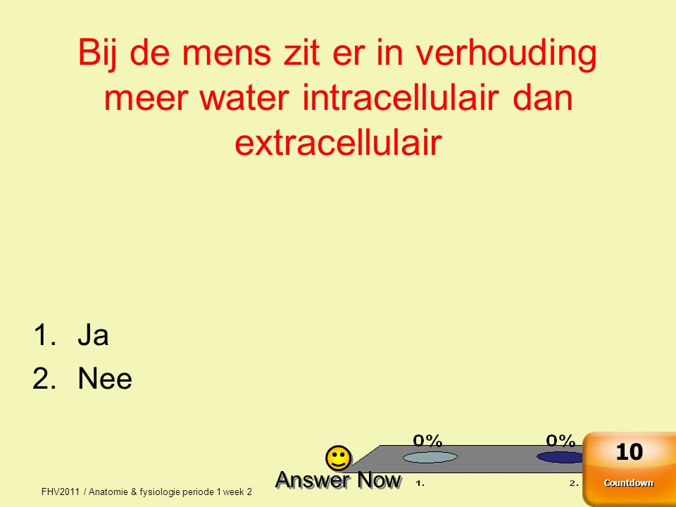 FHV2011 / Anatomie & fysiologie periode 1 week 2 7 Bij de mens zit er in verhouding meer water intracellulair dan extracellulair 1.Ja 2.Nee Answer Now
