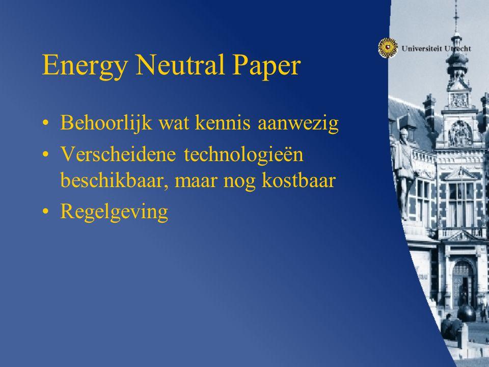 Energy Neutral Paper Behoorlijk wat kennis aanwezig Verscheidene technologieën beschikbaar, maar nog kostbaar Regelgeving
