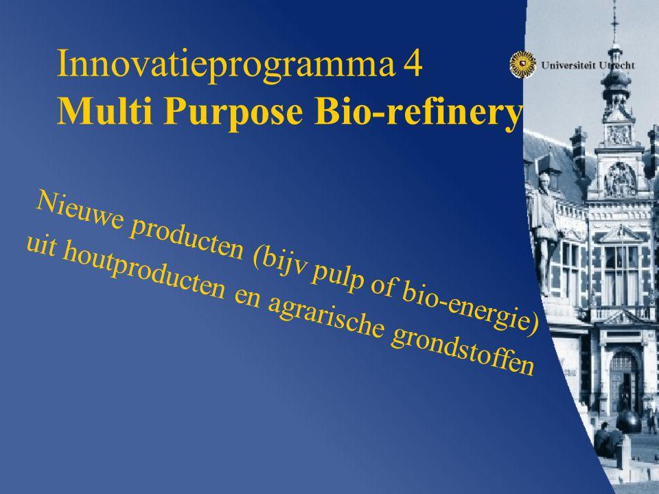 Innovatieprogramma 4 Multi Purpose Bio-refinery Nieuwe producten (bijv pulp of bio-energie) uit houtproducten en agrarische grondstoffen