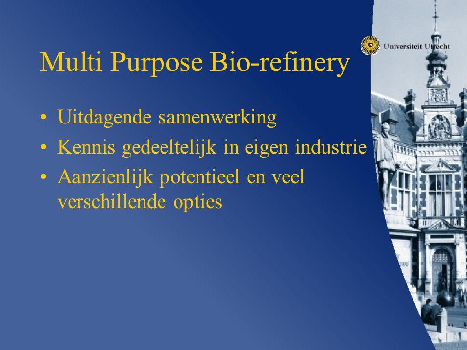 Multi Purpose Bio-refinery Uitdagende samenwerking Kennis gedeeltelijk in eigen industrie Aanzienlijk potentieel en veel verschillende opties