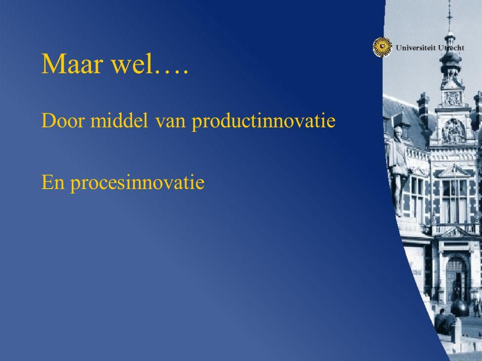 Maar wel…. Door middel van productinnovatie En procesinnovatie