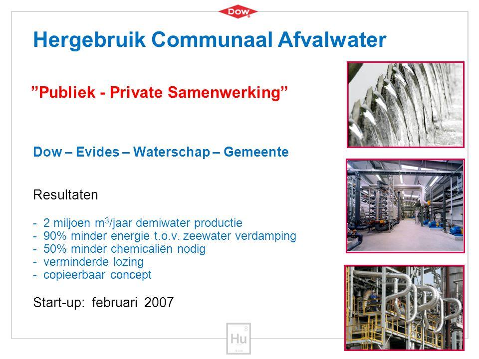 6 Dow – Evides – Waterschap – Gemeente Resultaten - 2 miljoen m 3 /jaar demiwater productie - 90% minder energie t.o.v. zeewater verdamping - 50% mind