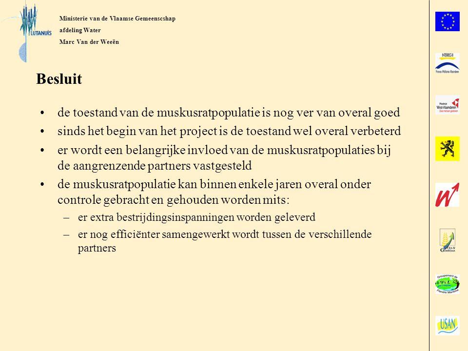 Ministerie van de Vlaamse Gemeenscshap afdeling Water Marc Van der Weeën Besluit de toestand van de muskusratpopulatie is nog ver van overal goed sinds het begin van het project is de toestand wel overal verbeterd er wordt een belangrijke invloed van de muskusratpopulaties bij de aangrenzende partners vastgesteld de muskusratpopulatie kan binnen enkele jaren overal onder controle gebracht en gehouden worden mits: –er extra bestrijdingsinspanningen worden geleverd –er nog efficiënter samengewerkt wordt tussen de verschillende partners