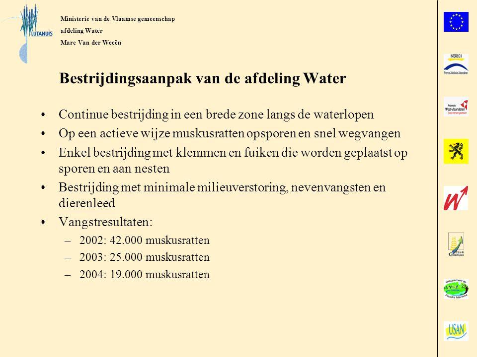 Ministerie van de Vlaamse Gemeenschap afdeling Water Marc Van der Weeën Vlaamse meetmethode van muskusratpopulaties –Opzoeken binnen een stroombekken van het gebied met de meeste sporen en aarden van muskusratten –Plaatsen van voldoende vangmateriaal in dit gebied op een oppervlakte van 1 km²(bloknorm) of over een lengte van 1km waterloop (lintnorm) –Wegvangen van de muskusratten gedurende 2 opeenvolgende nachten