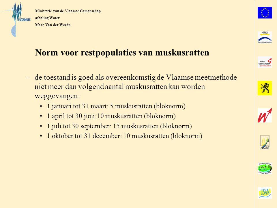 Ministerie van de Vlaamse Gemeenschap afdeling Water Marc Van der Weeën Overeenkomsten voor muskusratbestrijding van de afdeling Water Beheerders van de bevaarbare en 1ste categorie waterlopen –continue bestrijding –in 10 stroombekkens 2maal per jaar controlemeting(lintnorm) –metingen: 2002: 20/20 norm gehaald 2003: 17/20 norm gehaald 2004: 19/20 norm gehaald voorjaar 2005: 10/10 norm gehaald Sinds begin 2005 met de beheerders van de lokale waterlopen in de provincies Antwerpen en Vlaams-Brabant –continue bestrijding –jaarlijkse meting per stroombekken en per provincie(lintnorm)