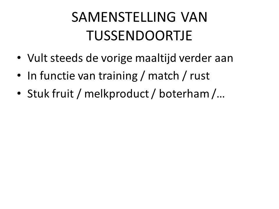 SAMENSTELLING VAN TUSSENDOORTJE Vult steeds de vorige maaltijd verder aan In functie van training / match / rust Stuk fruit / melkproduct / boterham /