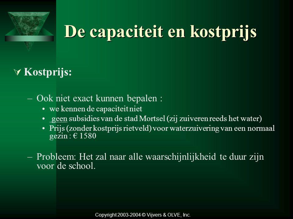 De capaciteit en kostprijs  Capaciteit: –Vraagteken : enkel afvalwater van de toiletten geen getallen hierover te vinden!!! vermoedelijk al te grote