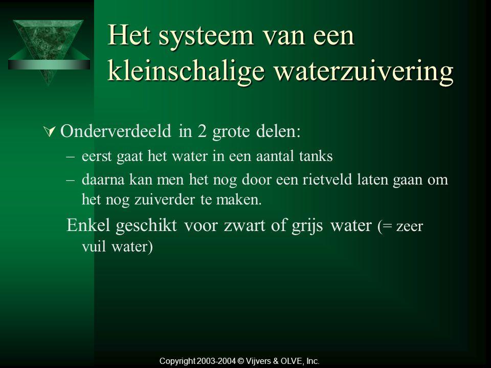 Het systeem van een kleinschalige waterzuivering  Onderverdeeld in 2 grote delen: –eerst gaat het water in een aantal tanks –daarna kan men het nog door een rietveld laten gaan om het nog zuiverder te maken.