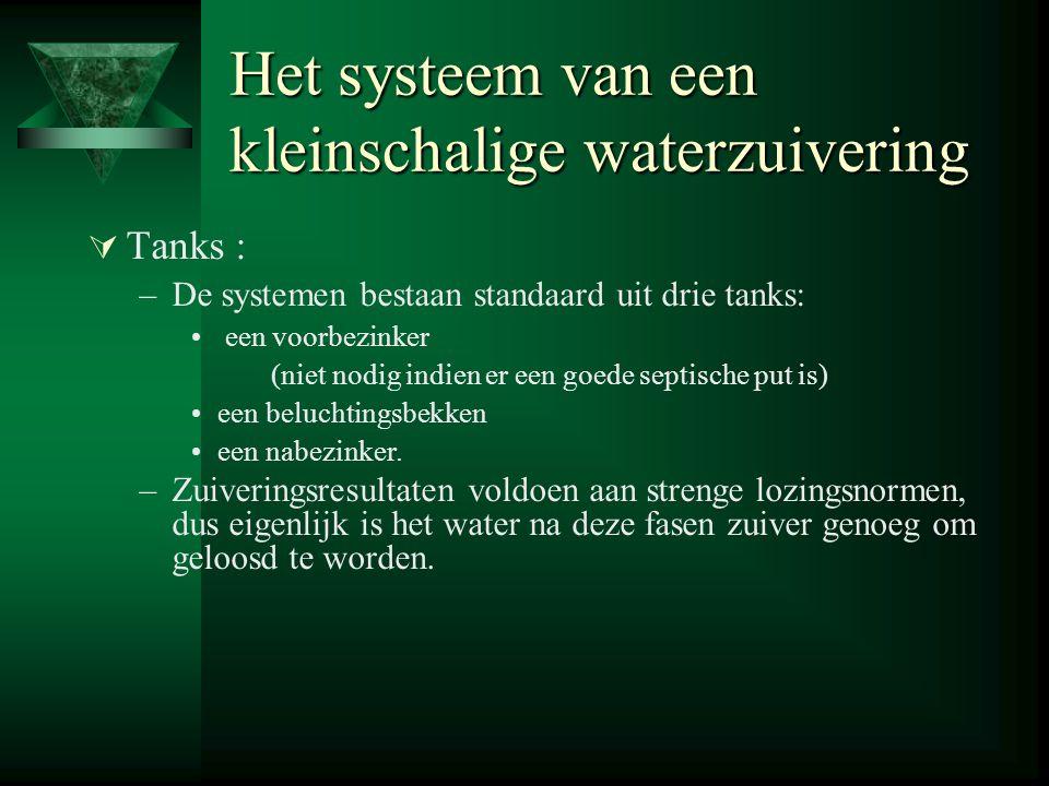 Het systeem van een kleinschalige waterzuivering  Tanks : –De systemen bestaan standaard uit drie tanks: een voorbezinker (niet nodig indien er een goede septische put is) een beluchtingsbekken een nabezinker.