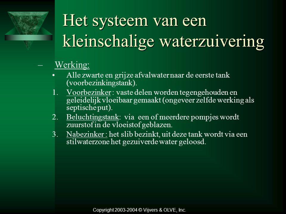 Het systeem van een kleinschalige waterzuivering –Werking: Alle zwarte en grijze afvalwater naar de eerste tank (voorbezinkingstank).