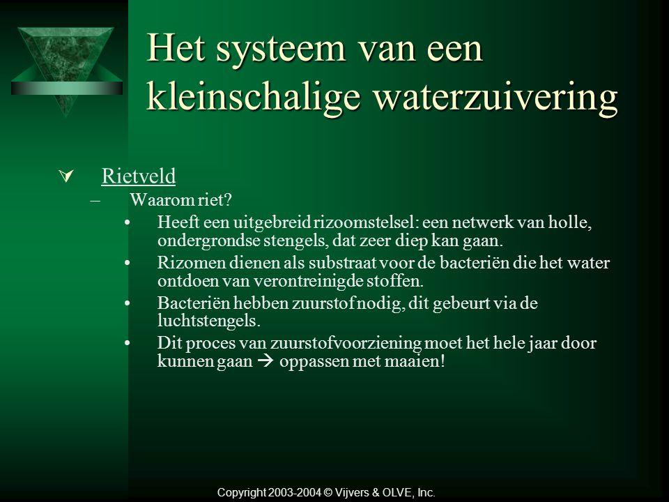 Het systeem van een kleinschalige waterzuivering –Werking: Alle zwarte en grijze afvalwater naar de eerste tank (voorbezinkingstank). 1.Voorbezinker :