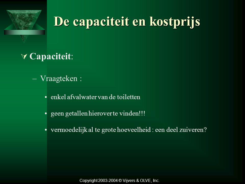 De capaciteit en kostprijs  Capaciteit: –Vraagteken : enkel afvalwater van de toiletten geen getallen hierover te vinden!!.