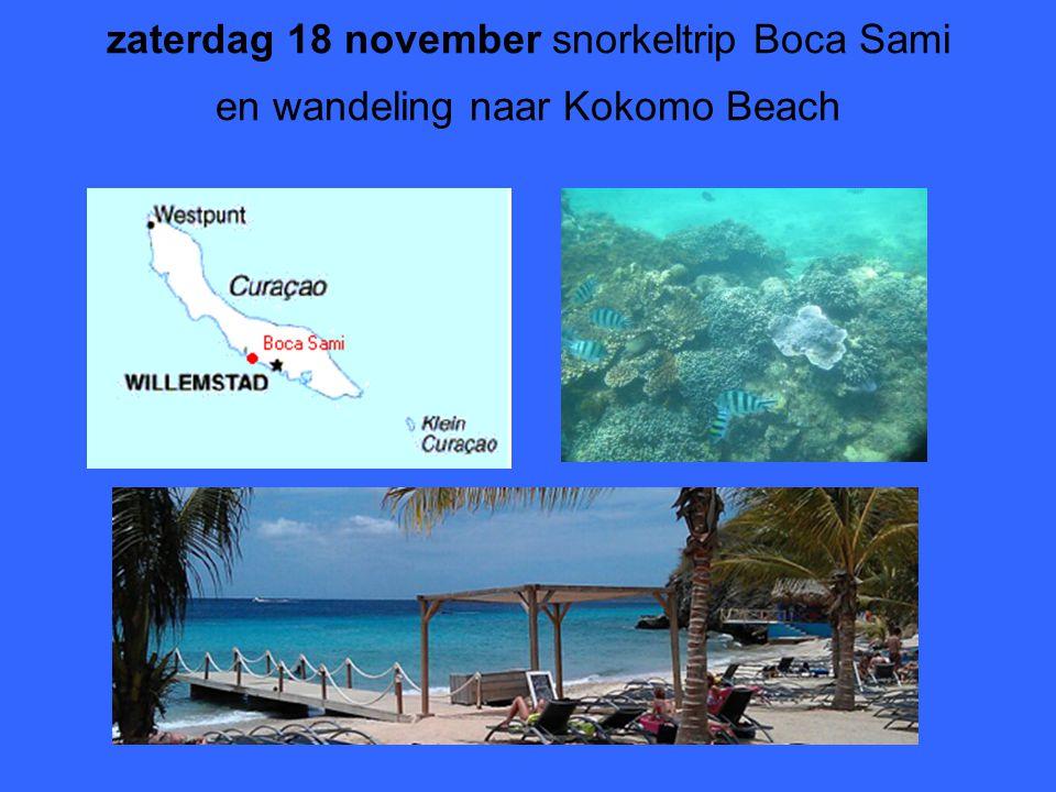 zaterdag 18 november snorkeltrip Boca Sami en wandeling naar Kokomo Beach
