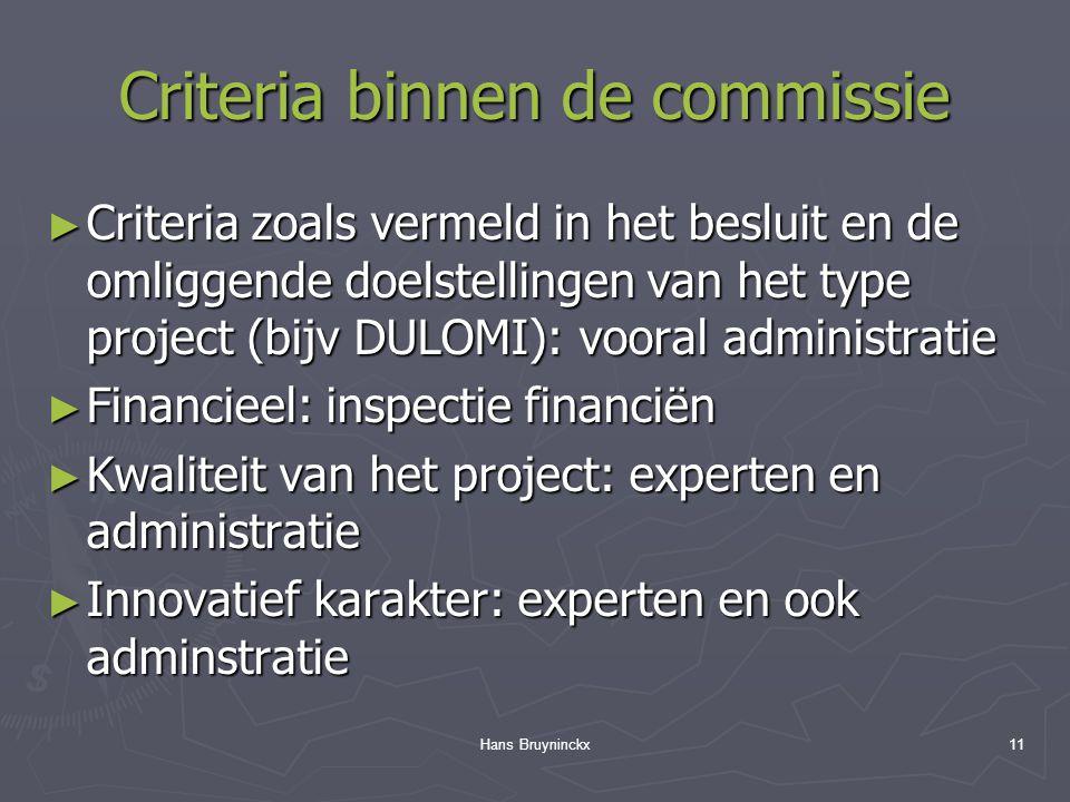 Hans Bruyninckx11 Criteria binnen de commissie ► Criteria zoals vermeld in het besluit en de omliggende doelstellingen van het type project (bijv DULOMI): vooral administratie ► Financieel: inspectie financiën ► Kwaliteit van het project: experten en administratie ► Innovatief karakter: experten en ook adminstratie