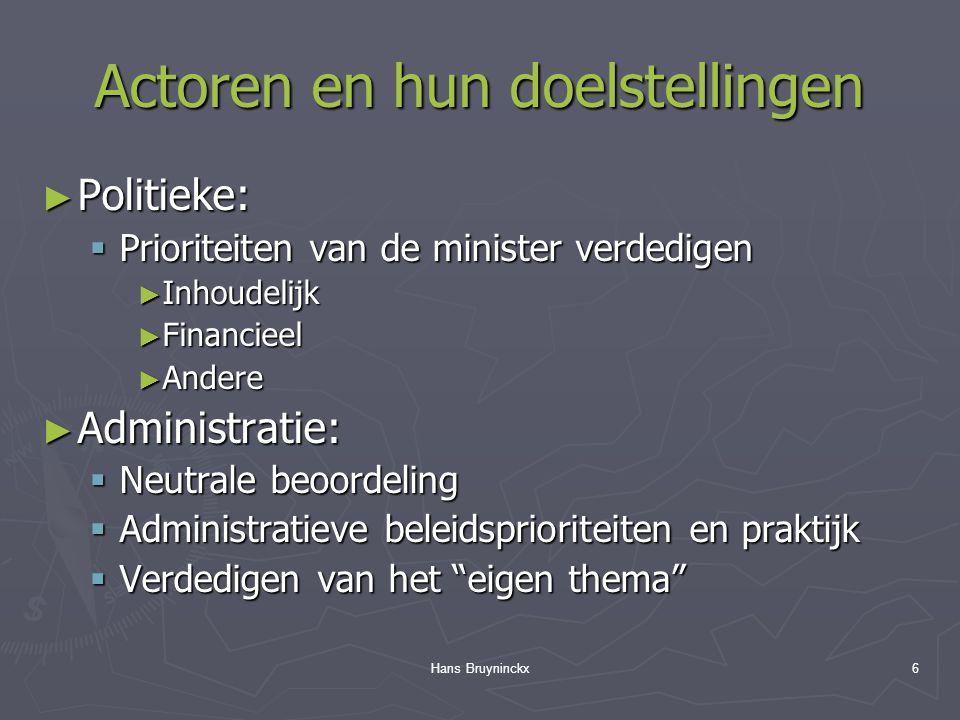 Hans Bruyninckx6 Actoren en hun doelstellingen ► Politieke:  Prioriteiten van de minister verdedigen ► Inhoudelijk ► Financieel ► Andere ► Administratie:  Neutrale beoordeling  Administratieve beleidsprioriteiten en praktijk  Verdedigen van het eigen thema