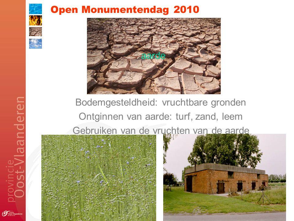 Open Monumentendag 2010 Bodemgesteldheid: vruchtbare gronden Ontginnen van aarde: turf, zand, leem Gebruiken van de vruchten van de aarde aarde