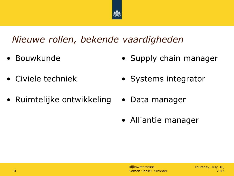 Rijkswaterstaat Samen Sneller Slimmer10Thursday, July 10, 2014 Nieuwe rollen, bekende vaardigheden Bouwkunde Civiele techniek Ruimtelijke ontwikkeling