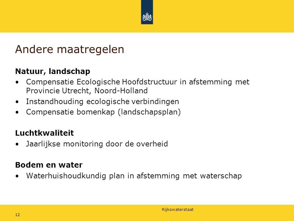 Rijkswaterstaat 12 Andere maatregelen Natuur, landschap Compensatie Ecologische Hoofdstructuur in afstemming met Provincie Utrecht, Noord-Holland Inst