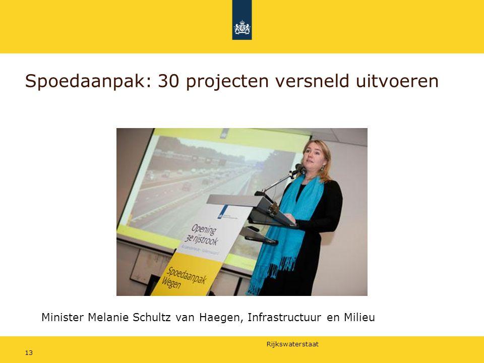Rijkswaterstaat 13 Spoedaanpak: 30 projecten versneld uitvoeren Minister Melanie Schultz van Haegen, Infrastructuur en Milieu