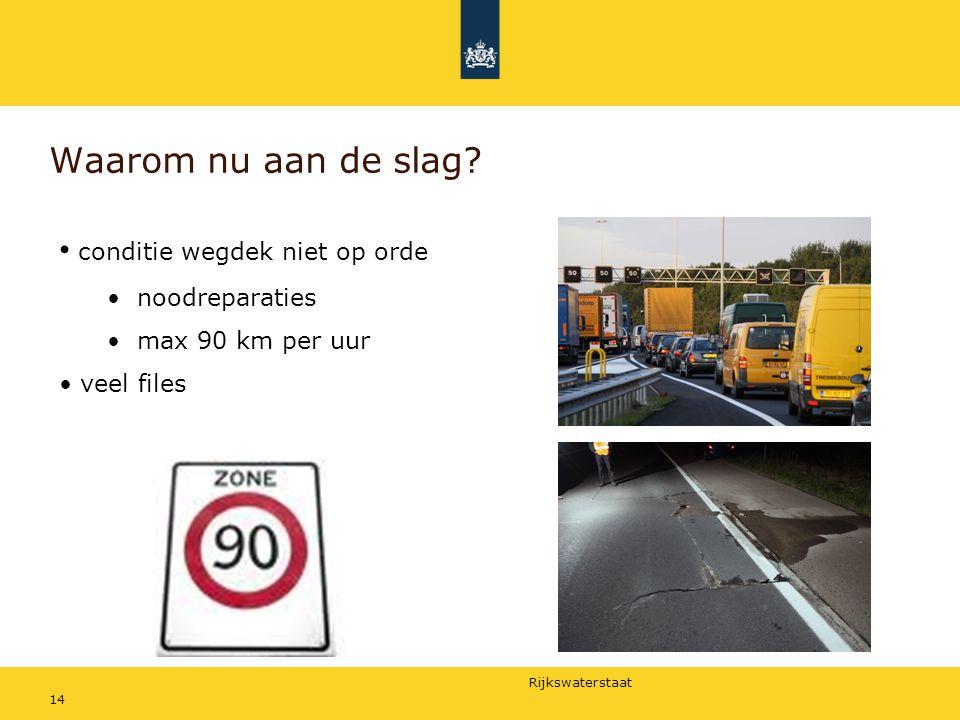 Rijkswaterstaat 14 Waarom nu aan de slag? conditie wegdek niet op orde noodreparaties max 90 km per uur veel files