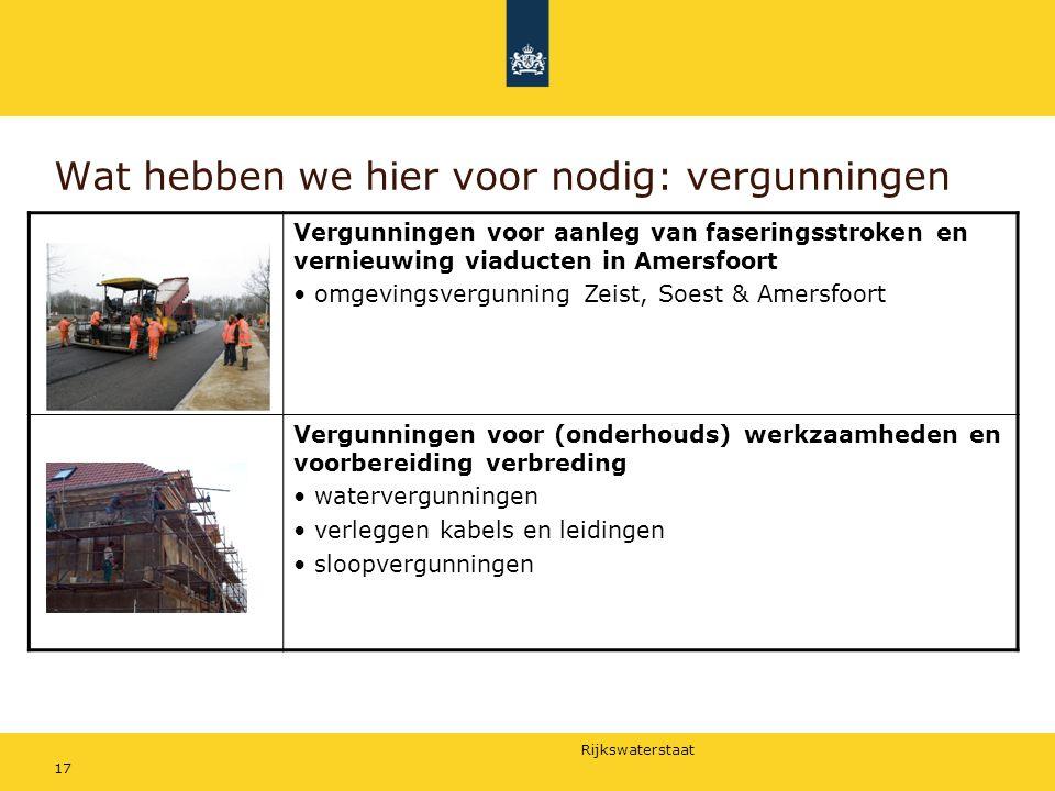 Rijkswaterstaat 17 Wat hebben we hier voor nodig: vergunningen Vergunningen voor aanleg van faseringsstroken en vernieuwing viaducten in Amersfoort om