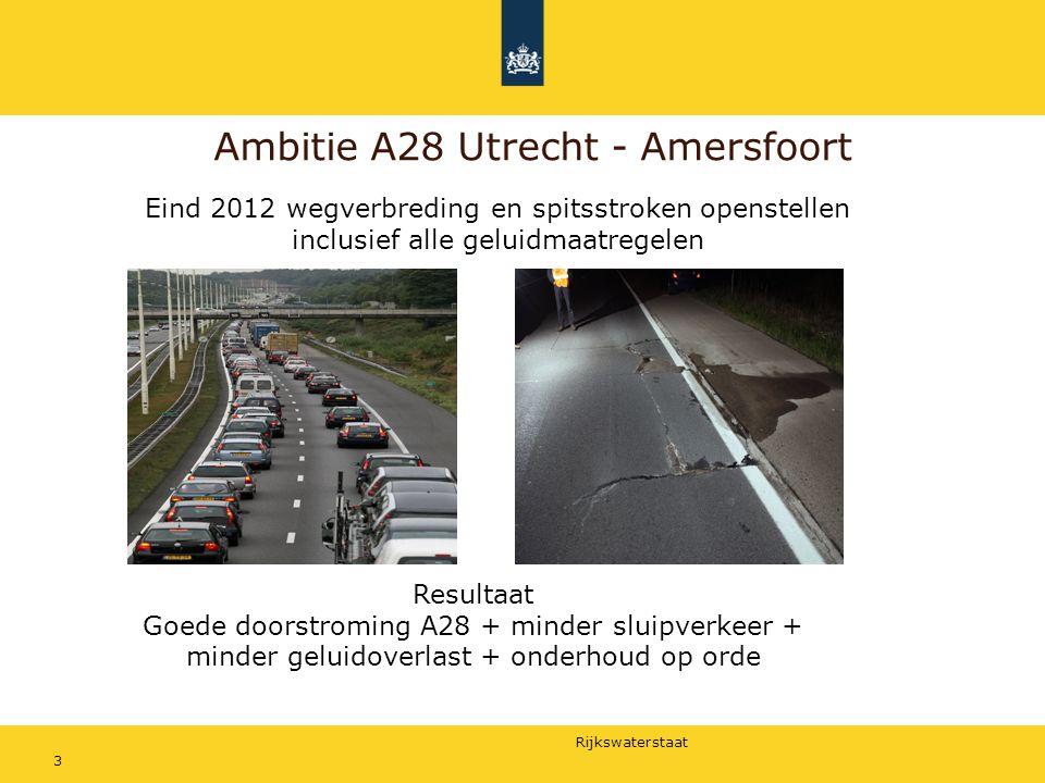 Rijkswaterstaat 3 Ambitie A28 Utrecht - Amersfoort Eind 2012 wegverbreding en spitsstroken openstellen inclusief alle geluidmaatregelen Resultaat Goed