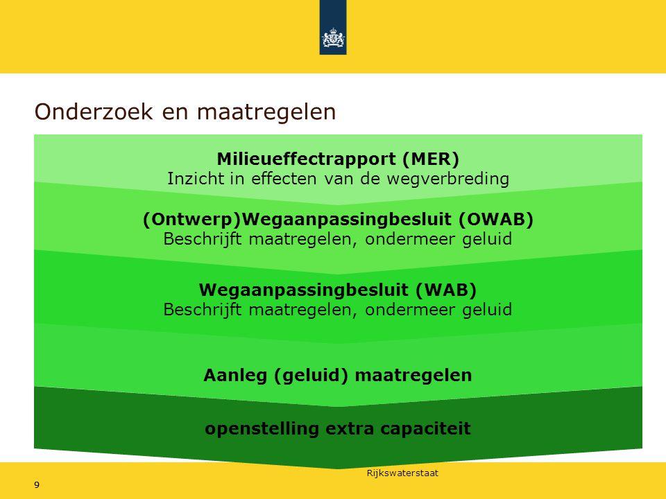 Rijkswaterstaat 99 Onderzoek en maatregelen Milieueffectrapport (MER) Inzicht in effecten van de wegverbreding (Ontwerp)Wegaanpassingbesluit (OWAB) Be