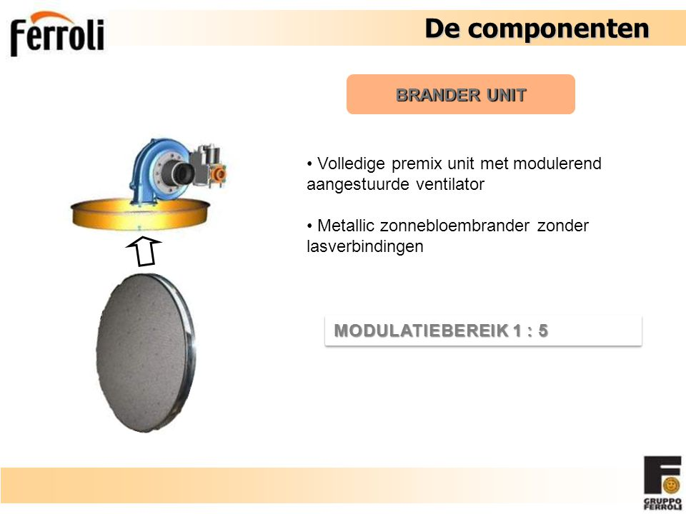 De componenten De componenten BRANDER UNIT Volledige premix unit met modulerend aangestuurde ventilator Metallic zonnebloembrander zonder lasverbindingen MODULATIEBEREIK 1 : 5