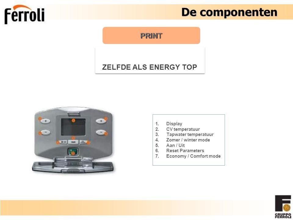 De componenten De componenten PRINT ZELFDE ALS ENERGY TOP 1.Display 2.CV temperatuur 3.Tapwater temperatuur 4.Zomer / winter mode 5.Aan / Uit 6.Reset Parameters 7.Economy / Comfort mode