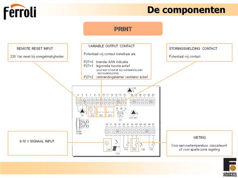 De componenten De componenten PRINT VARIABLE OUTPUT CONTACT VARIABLE OUTPUT CONTACT Potentiaal vrij contact instelbaar als: P27=0brander AAN indicatie P27=1legionella functie actief (sluit een circuit af, bijvoorbeeld bij een recirculatie pomp) P27=2verbrandingskamer ventilator actief REMOTE RESET INPUT REMOTE RESET INPUT 230 Vac reset bij onregelmatigheden STORINGSMELDING CONTACT Potentiaal vrij contact 0-10 V SIGNAAL INPUT 0-10 V SIGNAAL INPUT METING METING Voor aanvoertemperatuur cascadeunit of voor aparte zone regeling