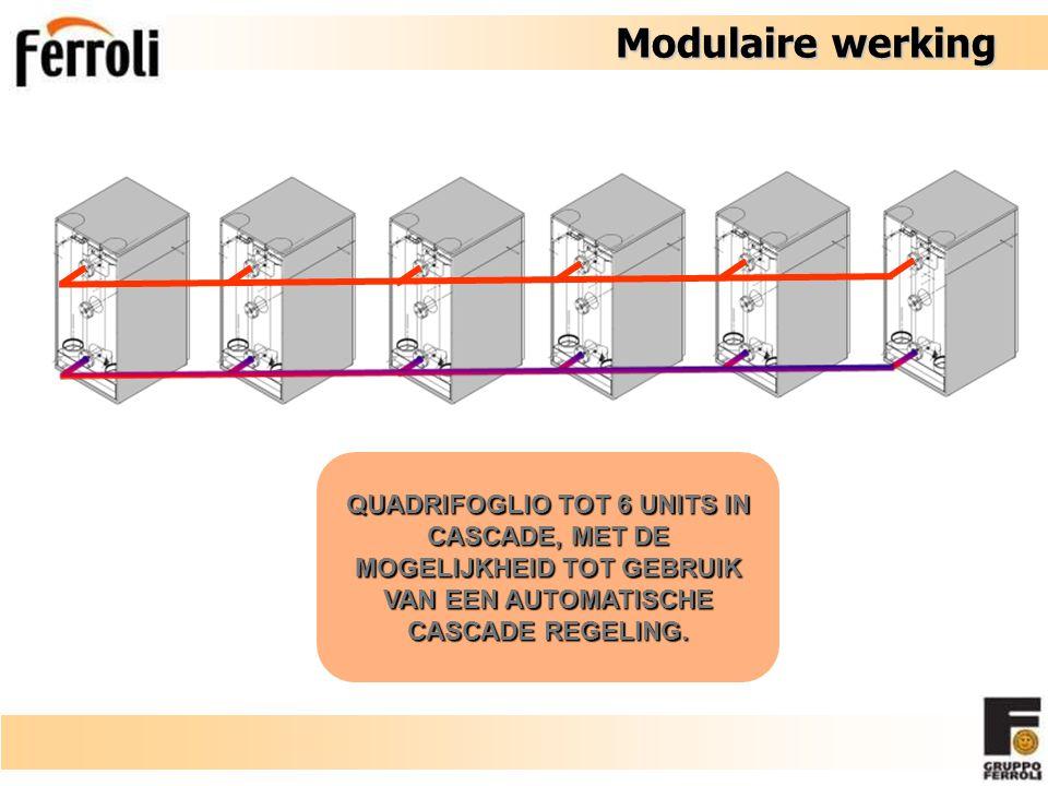 Modulaire werking QUADRIFOGLIO TOT 6 UNITS IN CASCADE, MET DE MOGELIJKHEID TOT GEBRUIK VAN EEN AUTOMATISCHE CASCADE REGELING.