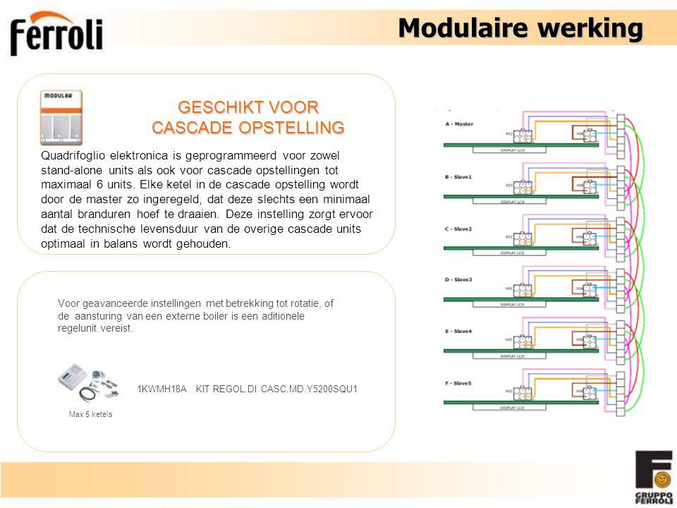 Modulaire werking GESCHIKT VOOR CASCADE OPSTELLING Quadrifoglio elektronica is geprogrammeerd voor zowel stand-alone units als ook voor cascade opstellingen tot maximaal 6 units.