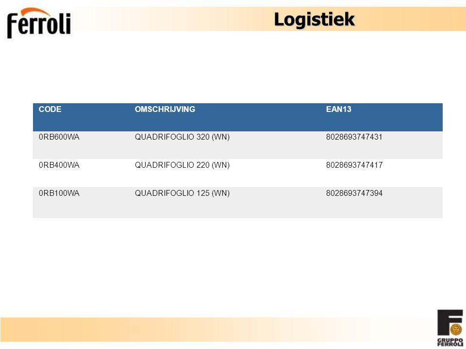 Logistiek CODEOMSCHRIJVINGEAN13 0RB600WA QUADRIFOGLIO 320 (WN) 8028693747431 0RB400WA QUADRIFOGLIO 220 (WN) 8028693747417 0RB100WA QUADRIFOGLIO 125 (W