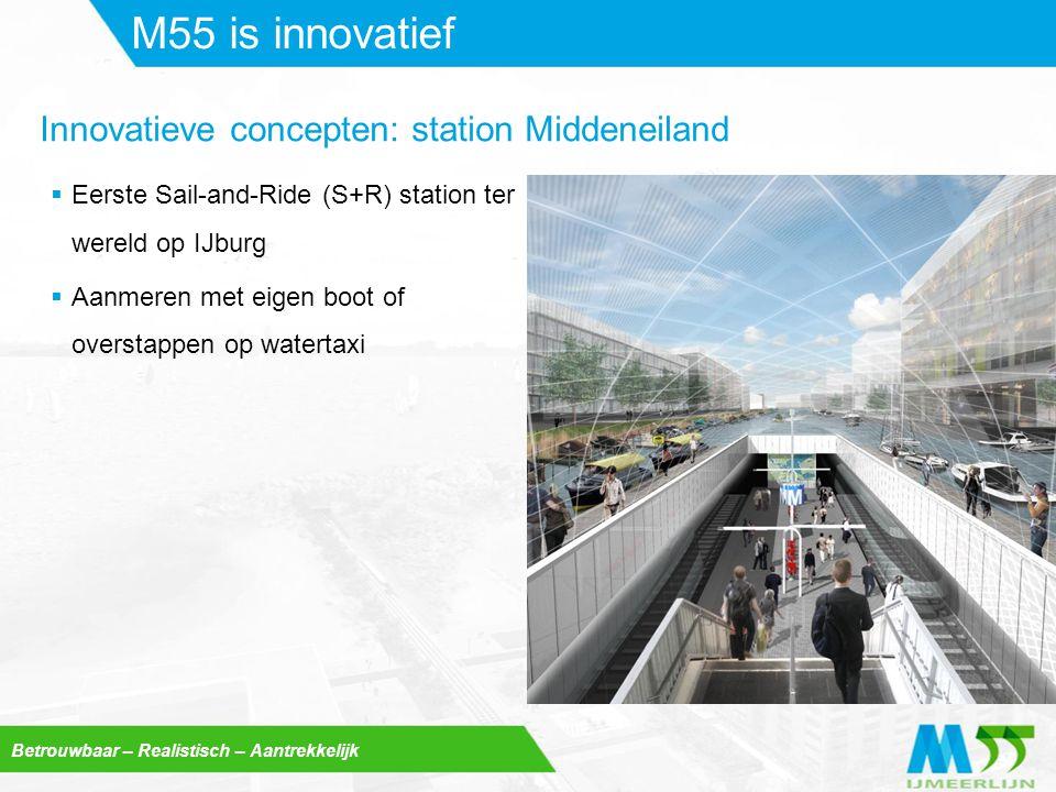 Betrouwbaar – Realistisch – Aantrekkelijk M55 is innovatief  Eerste Sail-and-Ride (S+R) station ter wereld op IJburg  Aanmeren met eigen boot of ove